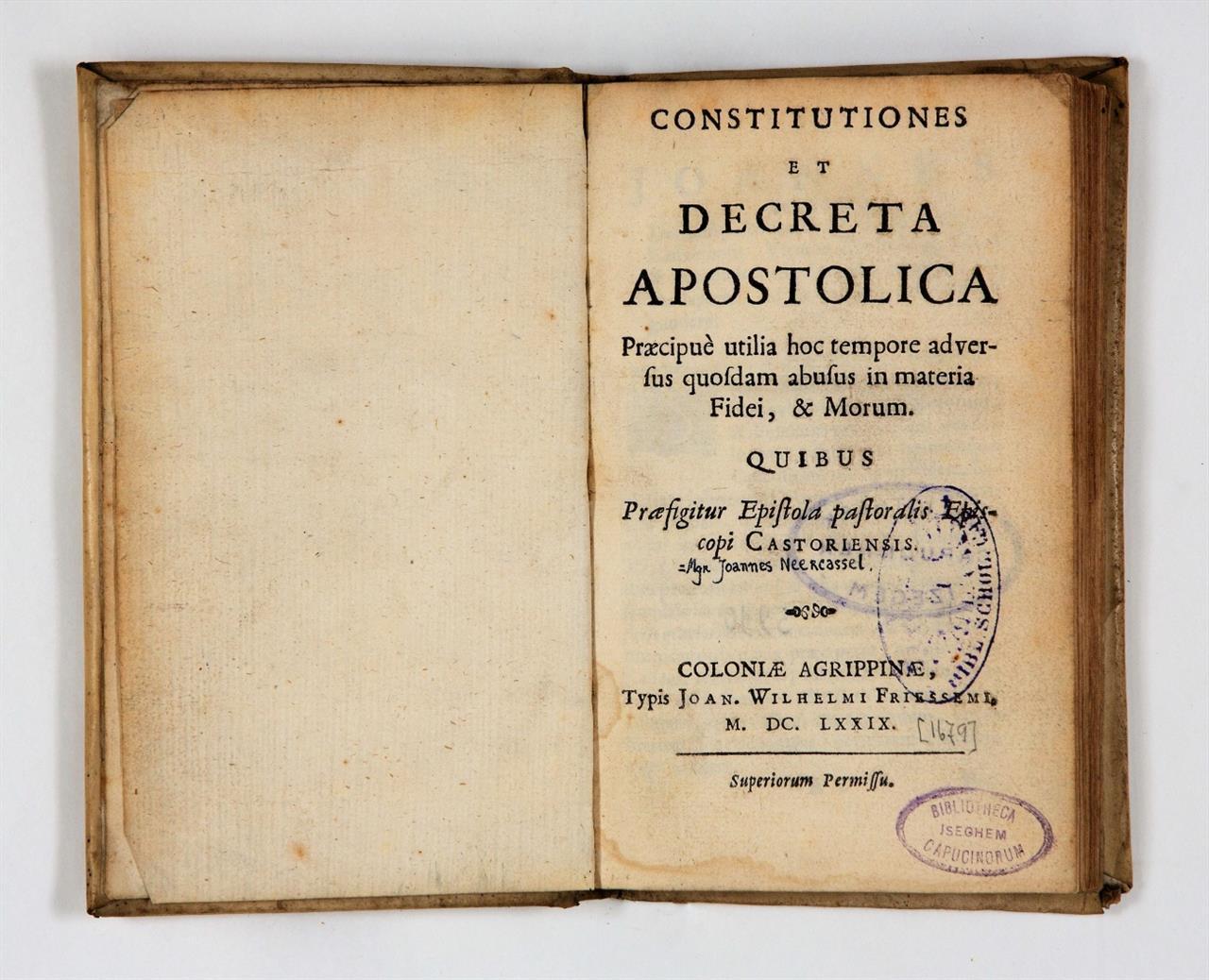 J. B. van Neercassel, Constitutiones et decreta apostolica. Köln 1679.