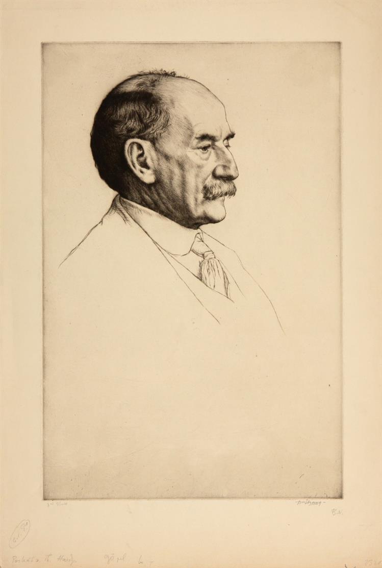 William Strang. Bildnis Thomas Hardy. 1910. Radierung. Signiert.