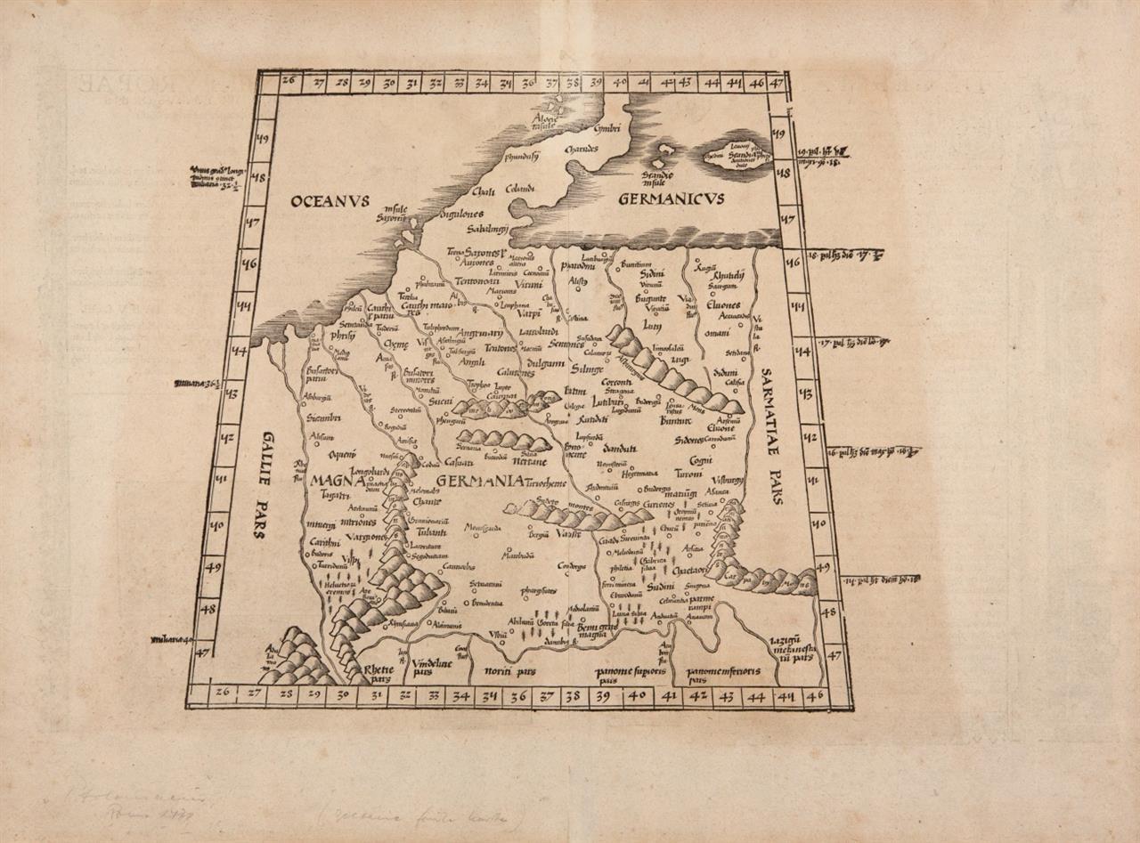 Magna Germania. Holzschnitt-Karte nach Ptolemäus, um 1520.