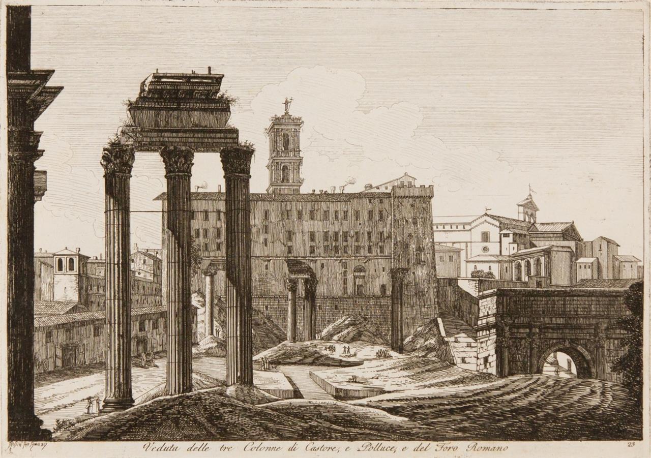 Luigi Rossini. Raccolta die Cinquanta ... Vedute .. in Roma.... 1818. Gest. Titel + 50 Radierungen, montiert in Ldr.Album mit Kupferplatte in Kassette.