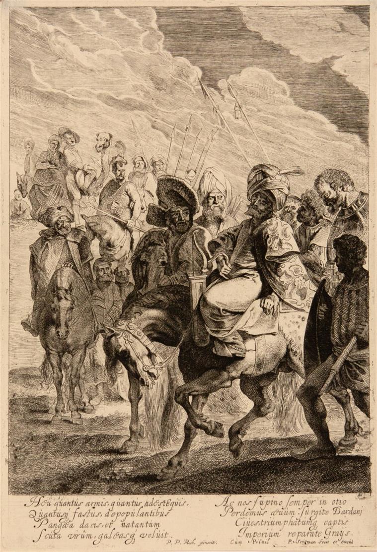 Pieter Claesz Soutman nach P.P. Rubens. Türkischer Prinz zu Ross. Radierung. H. 16 IV (v. IV).