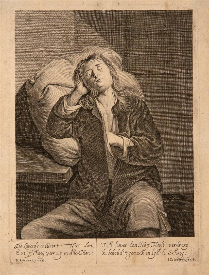 Jean de Weert. Wollust / Faulheit / Neid / Völlerei. 4 Blatt Kupferstiche aus Folge der