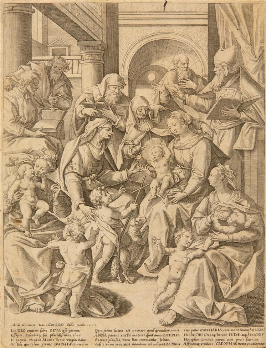 J. Collaert nach Maarten de Vos. Die Familie Mariens. Kupferstich.
