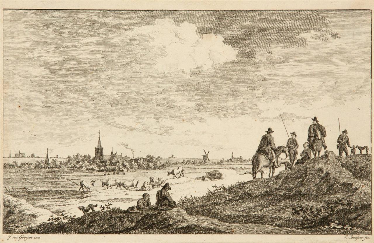 Jan van Goyen. 3 Landschaften. 3 Blatt Radierungen von L. Brasser u.a.