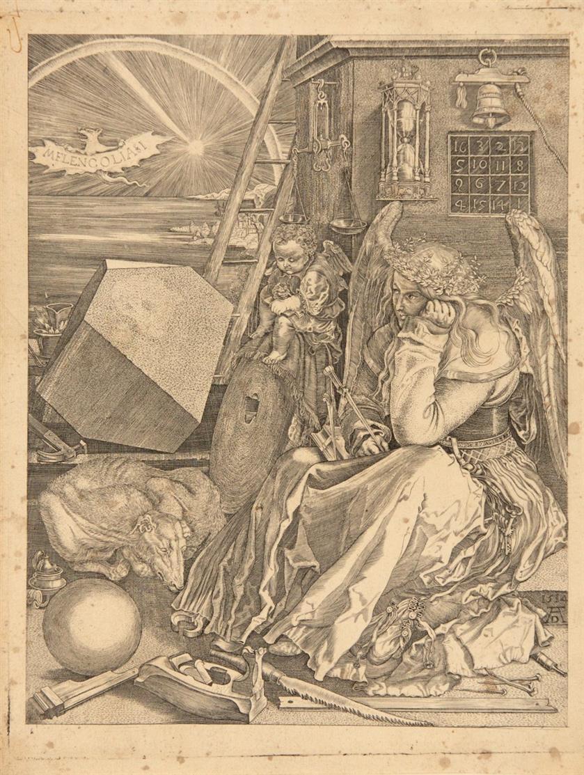 Albrecht Dürer, Kopie. Melencolia I. Anonyme, spätere gleichseitige Kopie nach Dürer. Kupferstich.