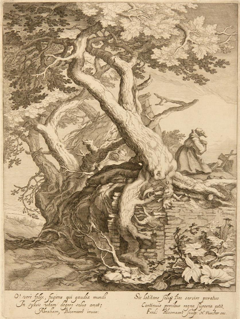 Abraham Bloemaert. Landschaft mit betendem Eremiten neben einer Hütte. Kupferstich von Frederik Bloemaert. H. 268.