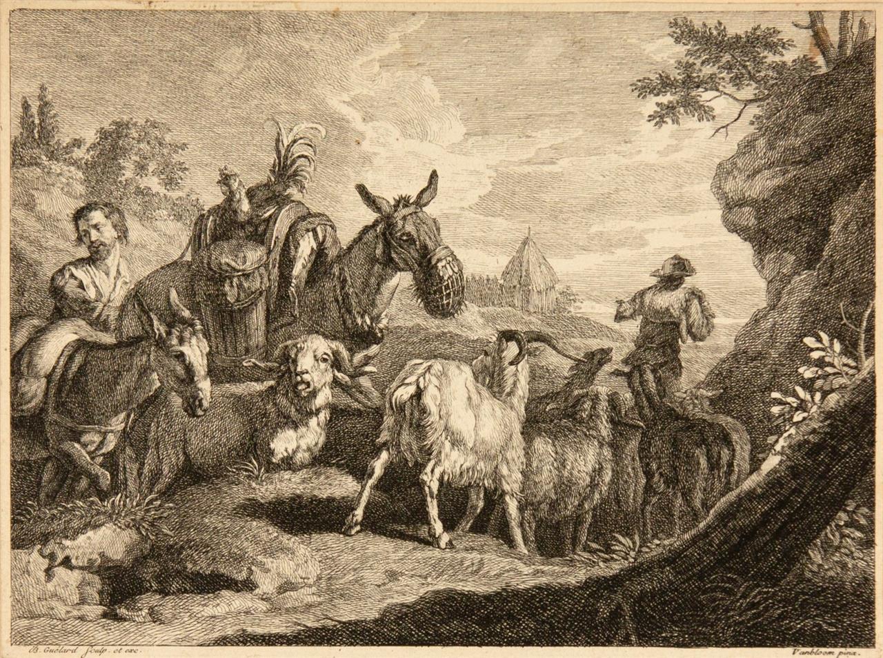 P. van Bloemen, nach. Ziegenherde mit Hirten und Eseln / Liegende Kühe und Ziegen. 2 Blatt Radierungen von J.B. Guélard.