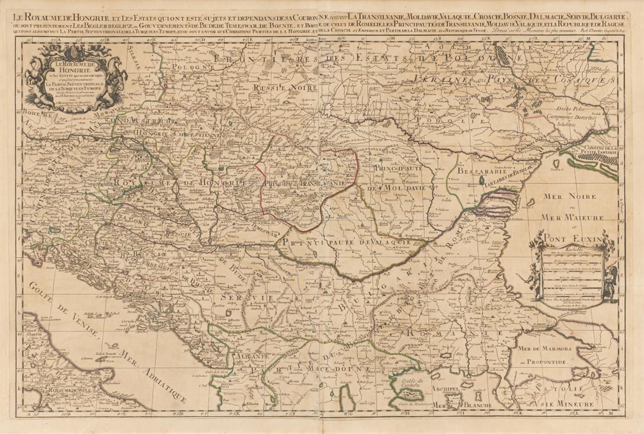 Ungarn. Grenzkolorierte Kupferstichkarte von Sanson/Jaillot, 1692.