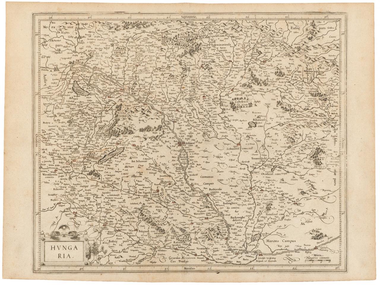 Ungarn. Kupferstichkarte von G. Mercator. um 1630.