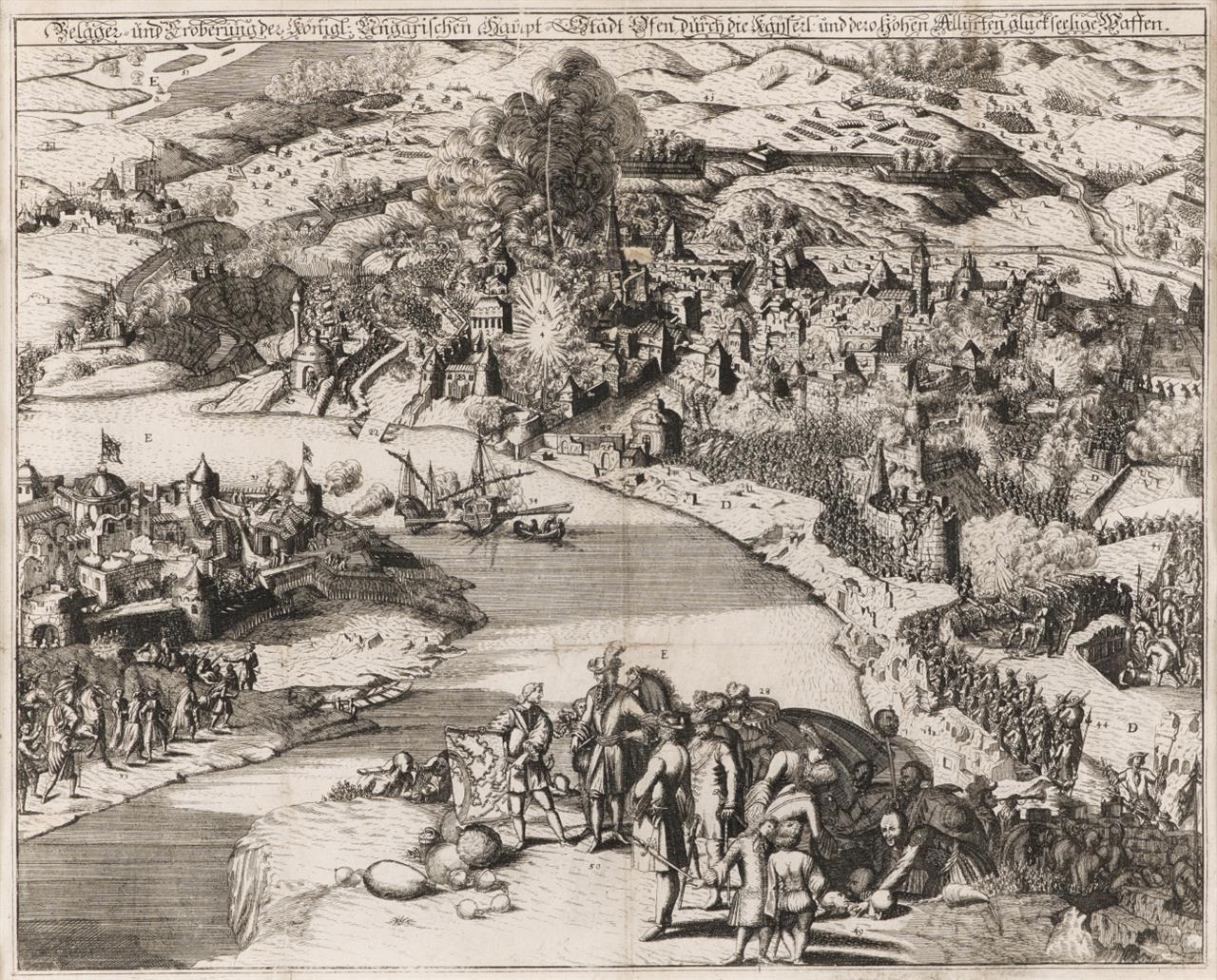 Ungarn. Budapest. Belagerung von Ofen. 1686-1690. Radierung von J. Ch. Haffner.