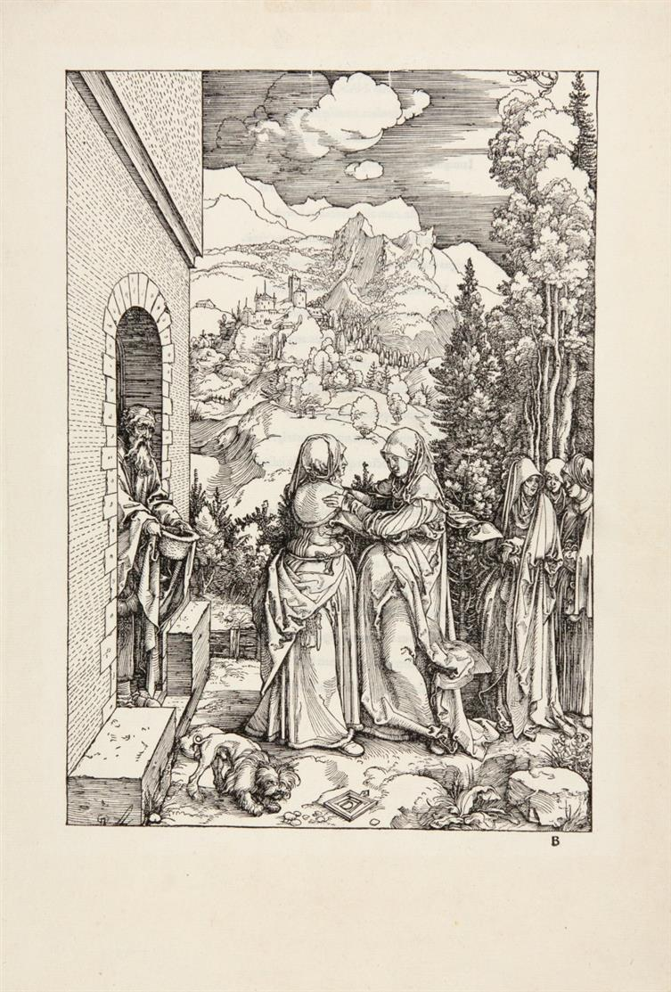 A. Dürer. Die Heimsuchung. Um 1503. Holzschnitt aus dem Marienleben. Meder 196, Textausgabe; Bartsch 84.