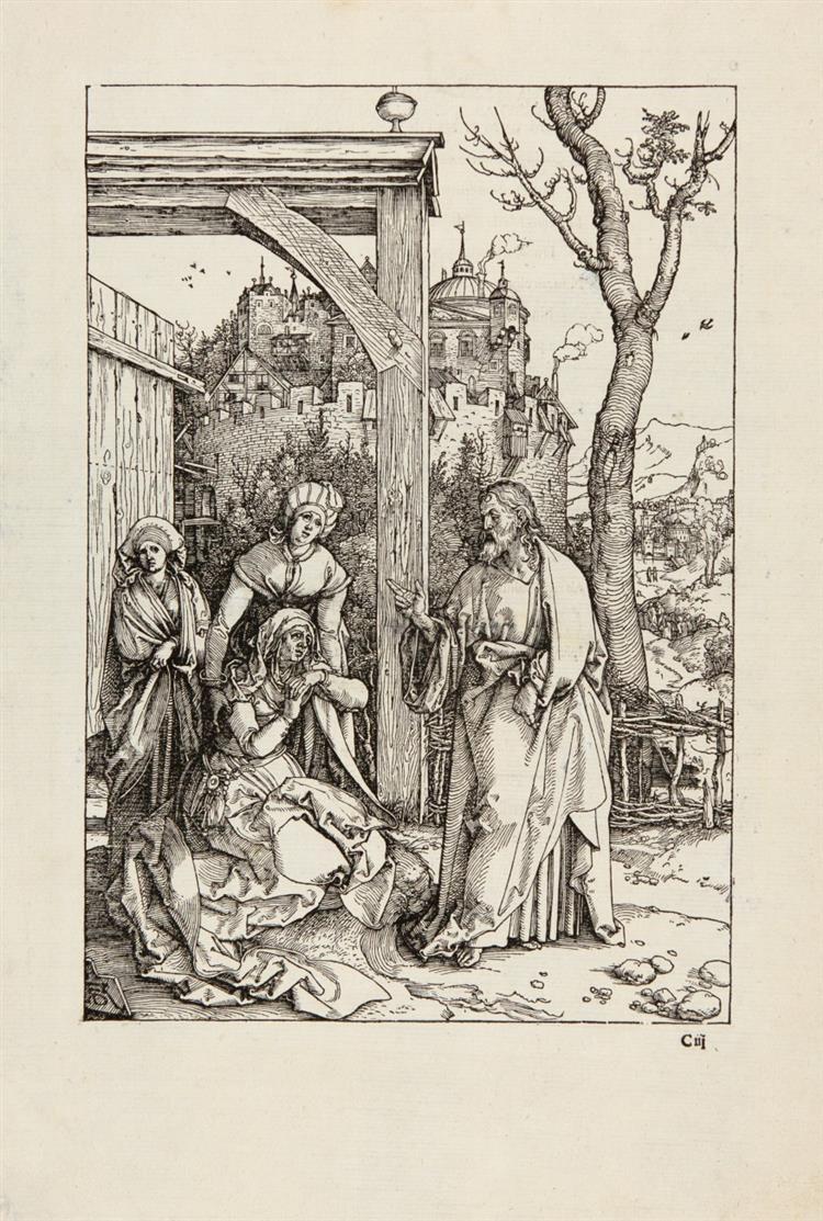 A. Dürer. Christus nimmt Abschied von seiner Mutter. Nach 1507. Holzschnitt aus dem Marienleben. Meder 204, Textausgabe; Bartsch 92.