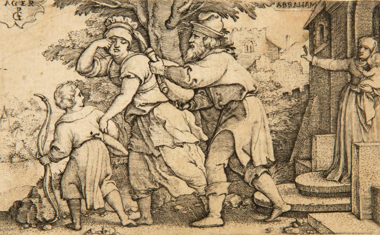 G. Pencz. Abraham verstößt Hagar. Kupferstich. Hollstein 3.