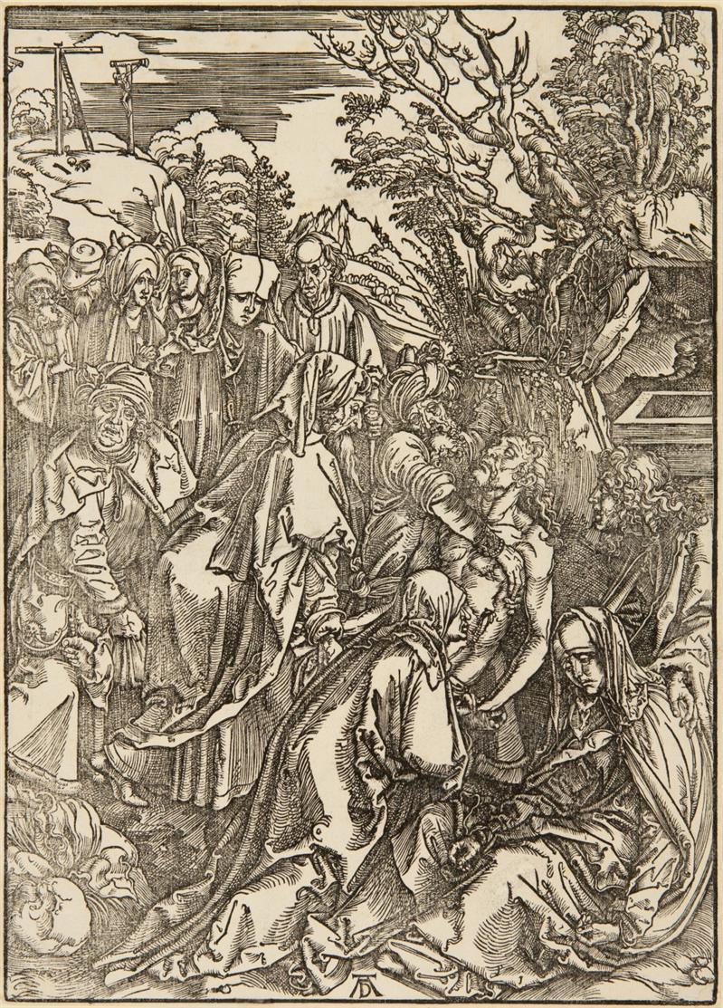 A. Dürer. Grablegung Christi. Um 1497-1500 (1675/1690). Holzschnitt aus der goßen Passion. B. 12; Meder 123, ohne Text c/d.