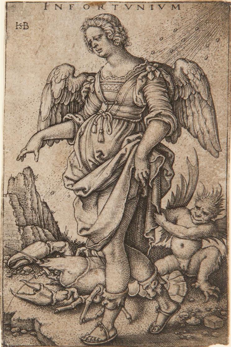 Hans Sebald Beham. Infortunium (Das Unglück). Kupferstich. Bartsch 141; H. 144 IV.