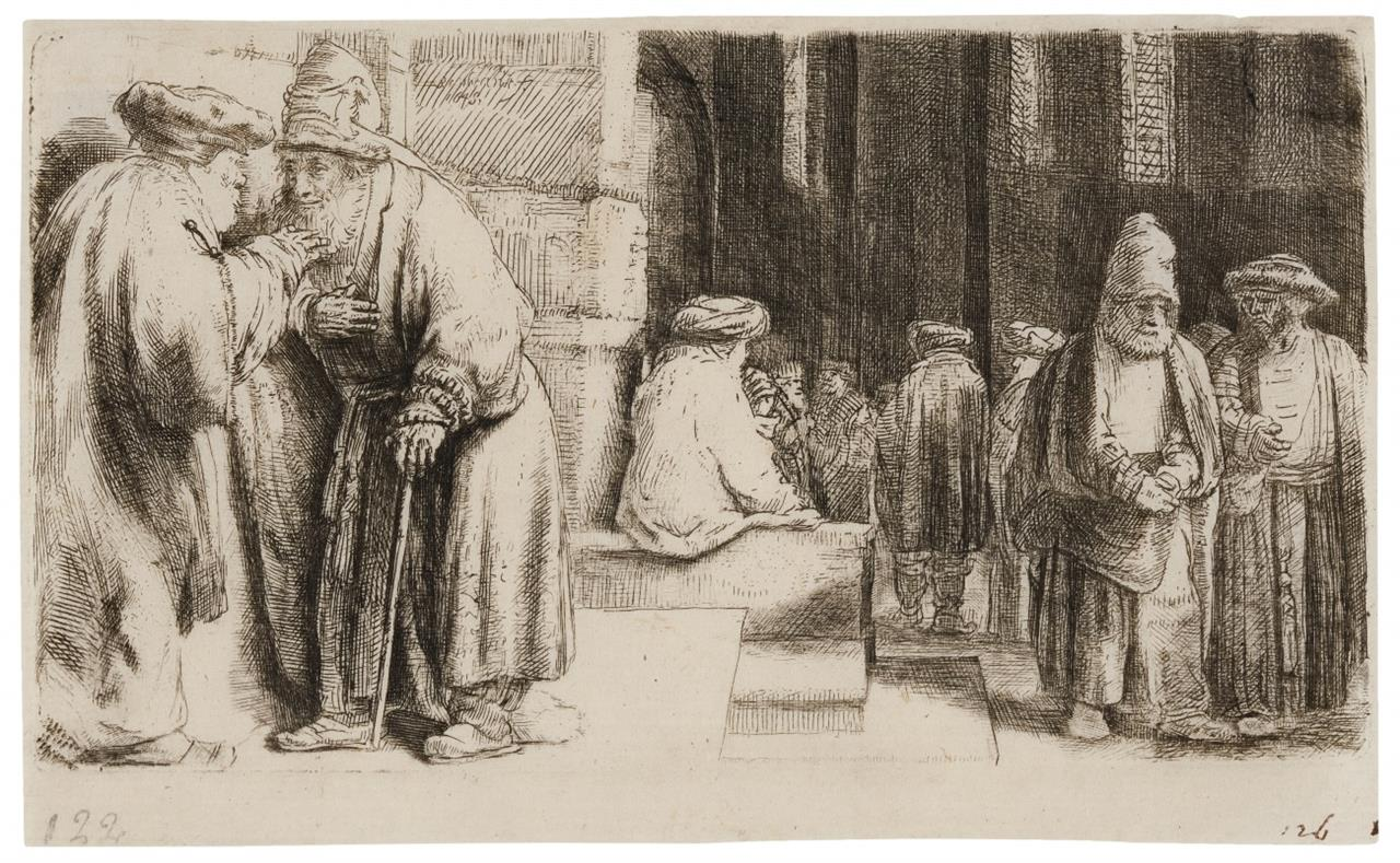 Rembrandt. Juden in der Synagoge. 1648. Radierung. NH 242 VI; B. 126.