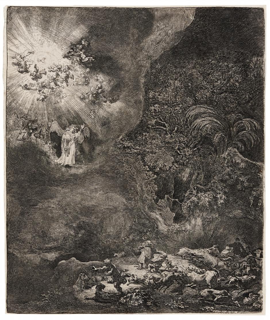 Rembrandt. Der Engel erscheint den Hirten. 1634. Radierung. NH 125 IV/V; B. 44.
