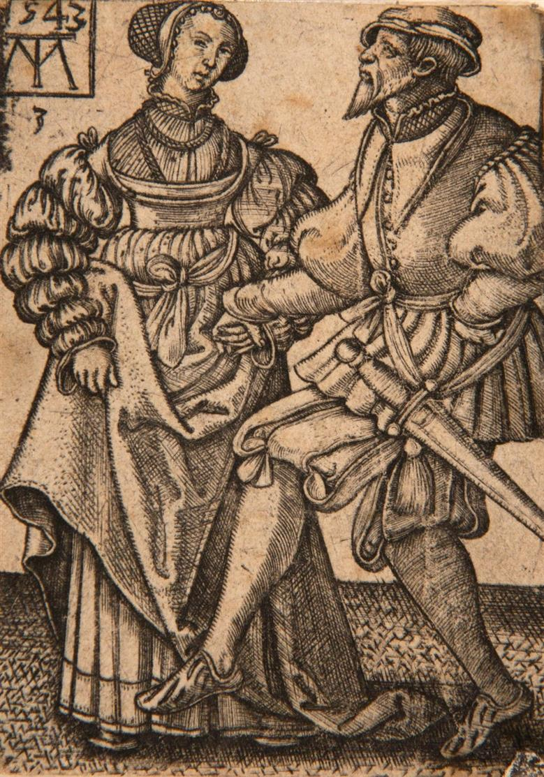 Martin Treu. Musikanten und Hochzeitstänzer. 1543. 3 Blatt Kupferstiche. NH 14, 16, 17.
