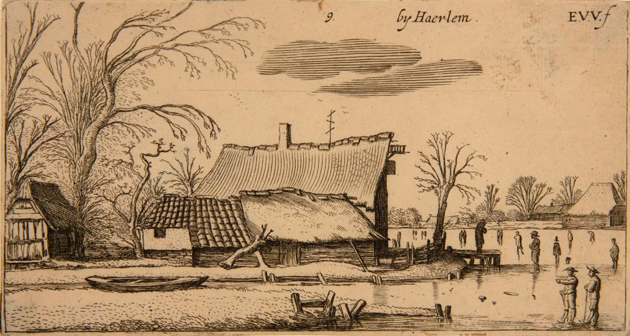 Esaias van de Velde. Bauernhof links von einem zugefrorenen Fluss. 1616. Radierung. H. 37 VI.