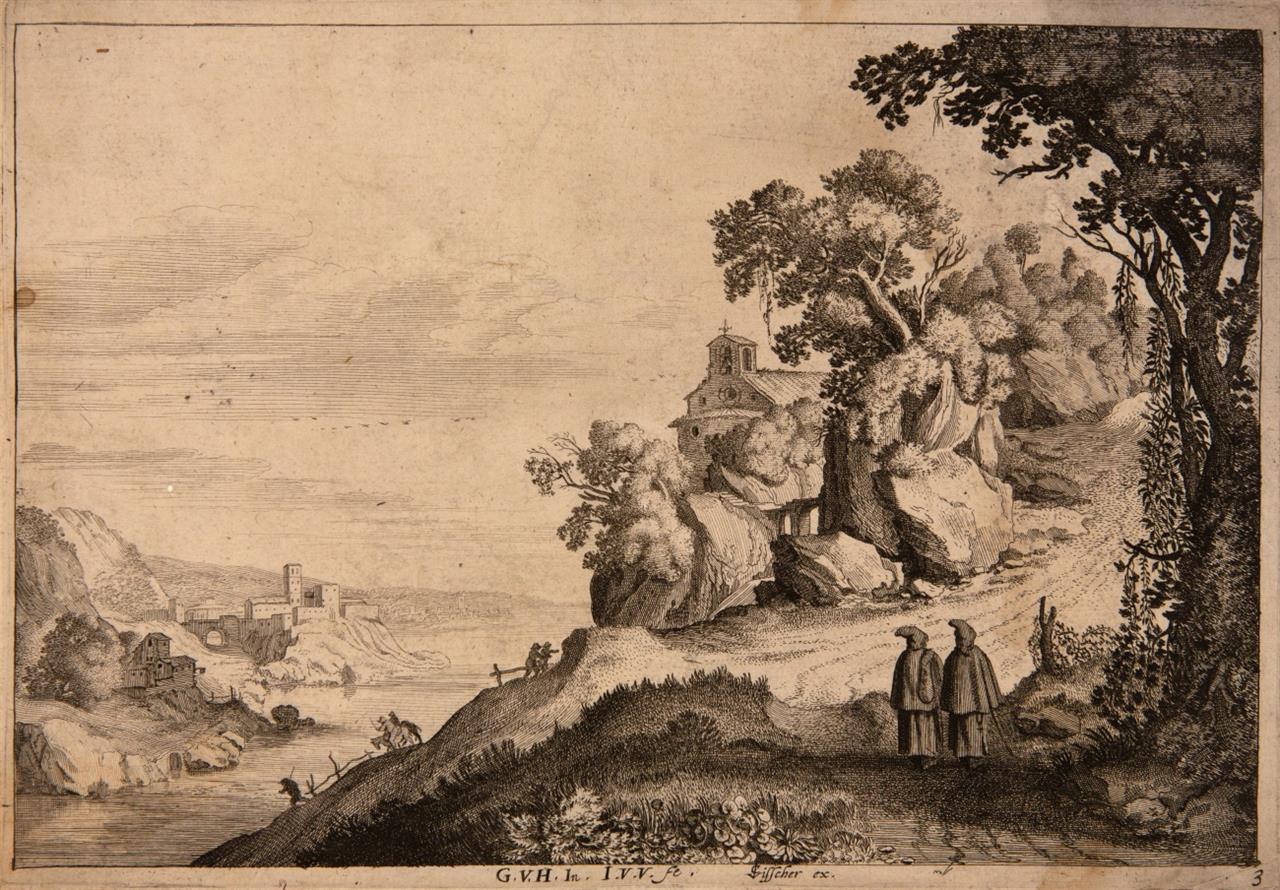 Jan van de Velde II. Flusslandschaft mit zwei Mönchen bei einer Kapelle. Um 1628. Radierung. H. 330.
