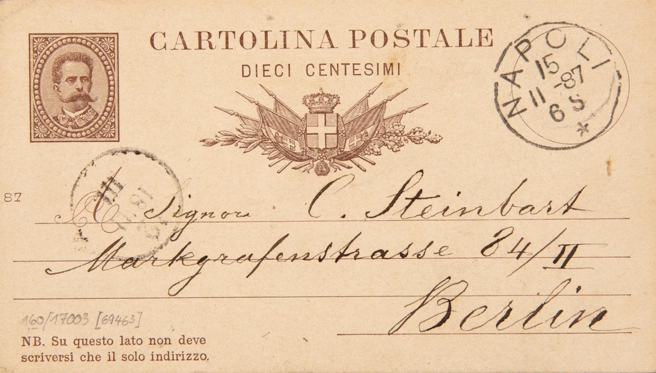 A. Böcklin. E. Postkarte m. U.; Neapel, 15.XI.1887. - An C. Steinbart, Berlin.