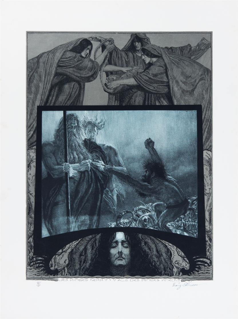 Franz Stassen. Der Ring des Nibelungen. 1914 - 1926. 4 Mappen mit zus. 120 Bl. Lithographien. Je signiert. Widmg.ex.