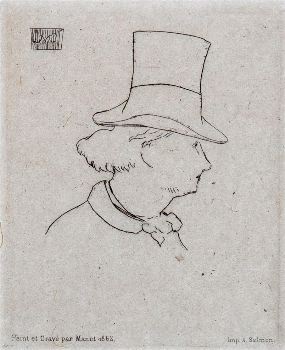 É. Manet. Baudelaire de profil en chapeau. (1862). Radierung. G. 31; H. 59.