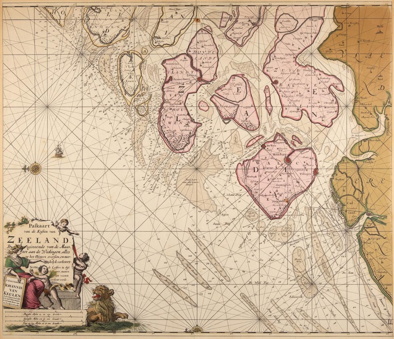 Paskaart van de Kusten van Zeeland. Kolor. Kupferstichkarte bei J. van Keulen, um 1704.
