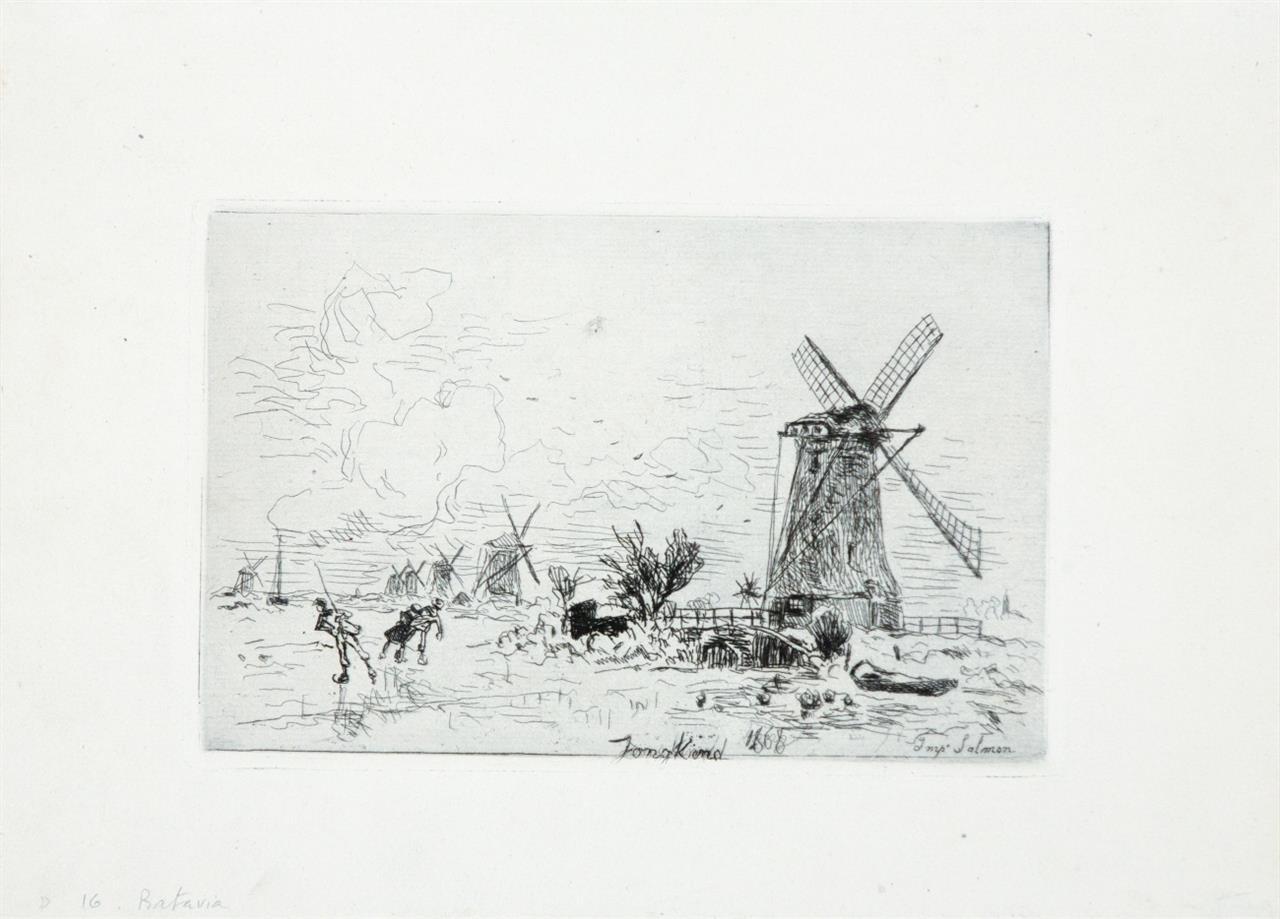 Johan-Barthold Jongkind. Landschaft mit Windmühlen. 1868. Radierung.