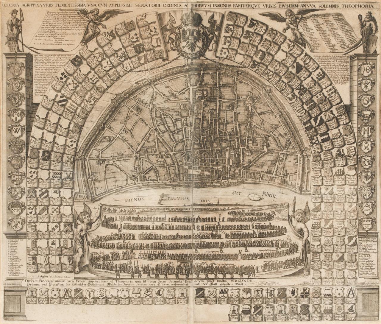 Köln. Colonia Agrippina Urbs Florentissima ... Plan der Stadt mit Wappenumrahmung. 1658 (- 1772). Kupferstich von Johann Heinrich Löffler.