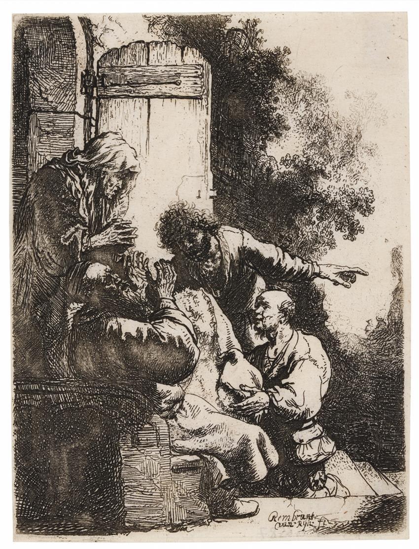 Rembrandt. Josephs Rock wird Jakob gebracht. Um 1633. Radierung. NH 122, II; B. 38.