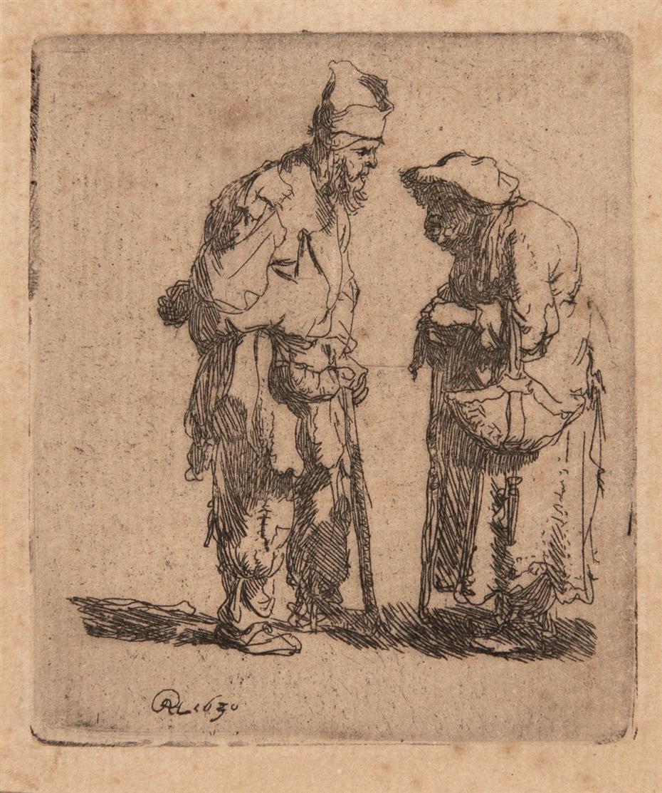 Rembrandt. Bettler und Bettlerin im Gespräch. 1630. Radierung. NH 45; B. 164.