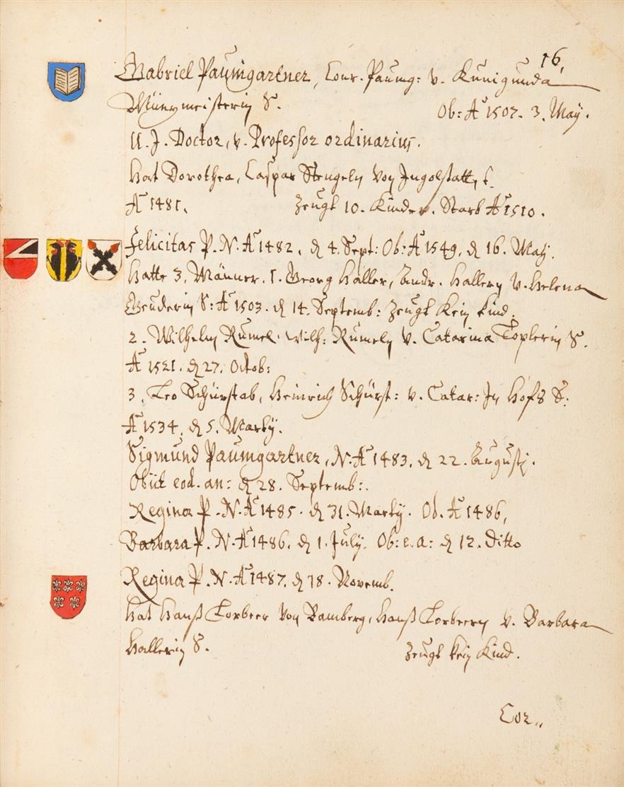 Nürnberger Patriziergeschlechter. Stammlinien mit Wappen. Handschrift um 1683