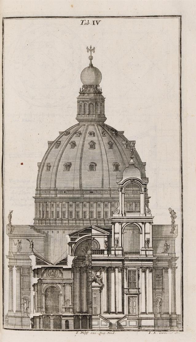 L. Ch. Sturm, Der nach Regeln der antiquen Bau-Kunst ... verneuerte Goldmann ... Sammelband mit 18 Werken und 3 Supplementen in 3 Bdn.  Augsburg 1718 - 1768.