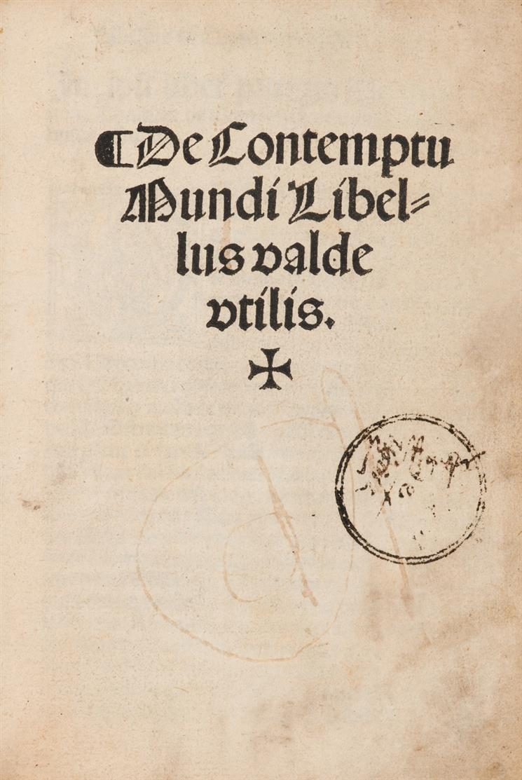 Thomas a Kempis, De contemptu mundi - Daran: J. Gerson, Tractatus de meditatione cordis. Alcalá de Henares, Miguel de Eguía, 1526.