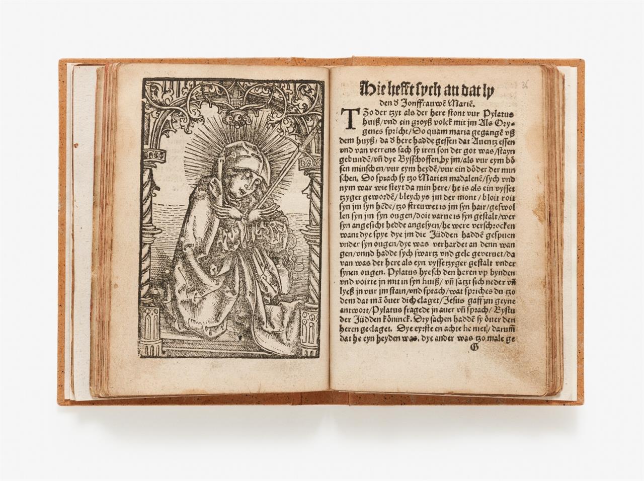 Sammelband mit ripuar. Druck u. Handschriften. - Dye Passye vns heren Jesu Christi ... [Köln, Arndt od. Joh. von Aich] 1530 (unvollst.). - Vorgeb.: Kalender- u. Rosenkranz-Handschrift.