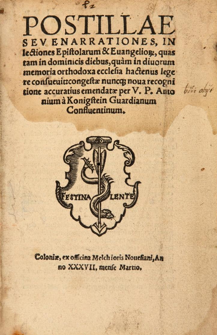 A. Broickwy von Königstein, Postillae sev enarrationes ... Köln 1537.