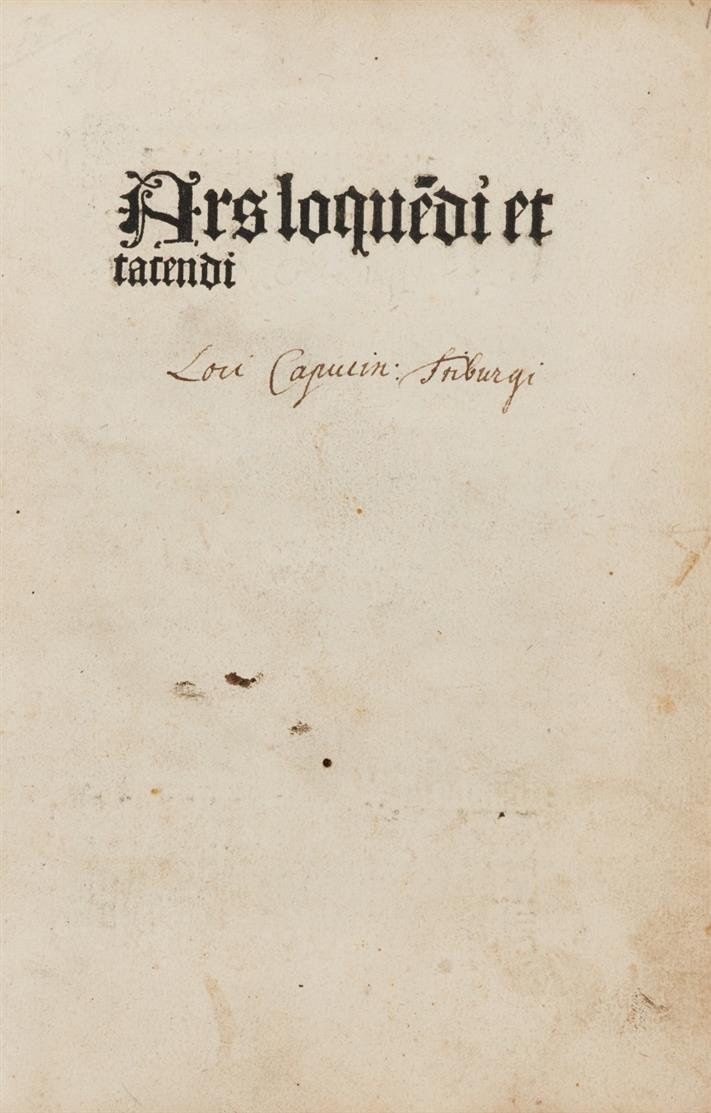 Albertanus Causidicus Brixiensis, De arte loquendi et tacendi. Köln, H. Quentell, 1497.