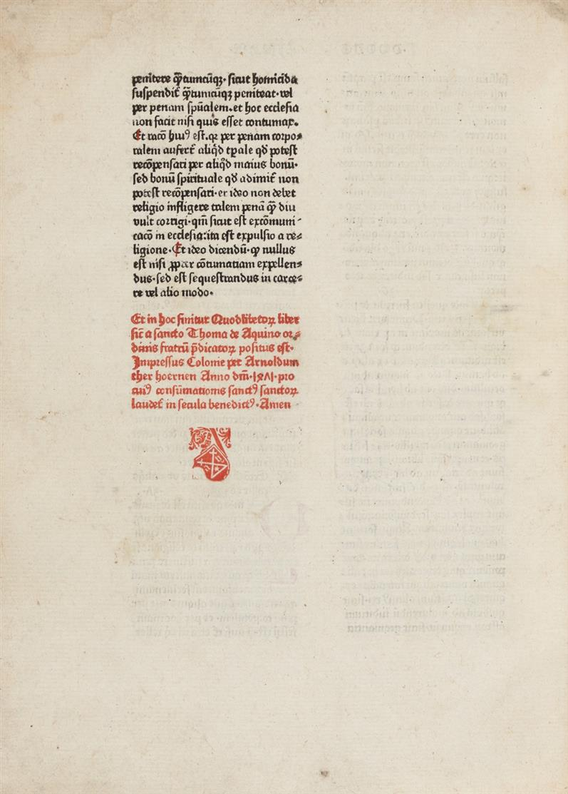 Thomas de Aquino, Quaestiones de duodecim quodlibet. Köln, A. Therhoernen, 1471.