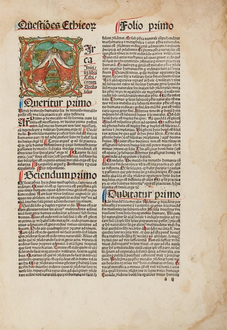 J. Versor, Quaestiones super libros ethicorum Aristotelis cum textu. Köln, H. Quentell, 1491.