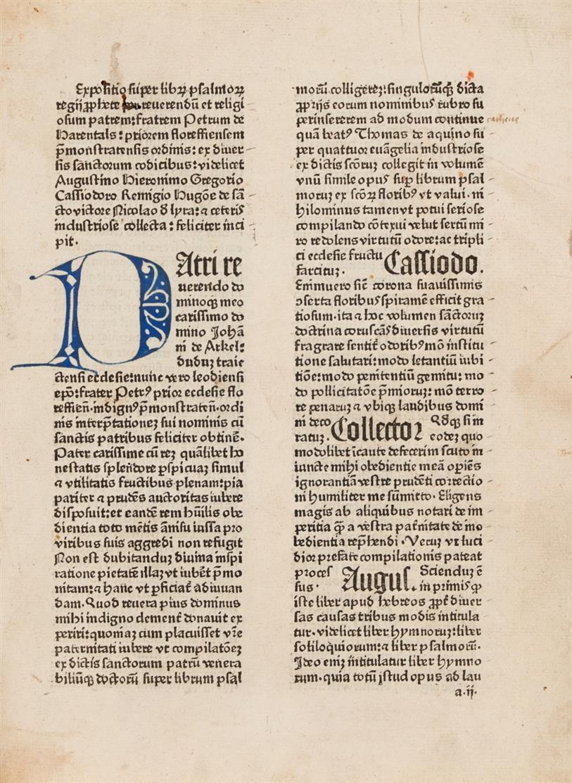 Petrus de Herenthals, Collectarius seu expositio libri psalmorum. Köln, Konrad Winters, 10.VIII.1480.