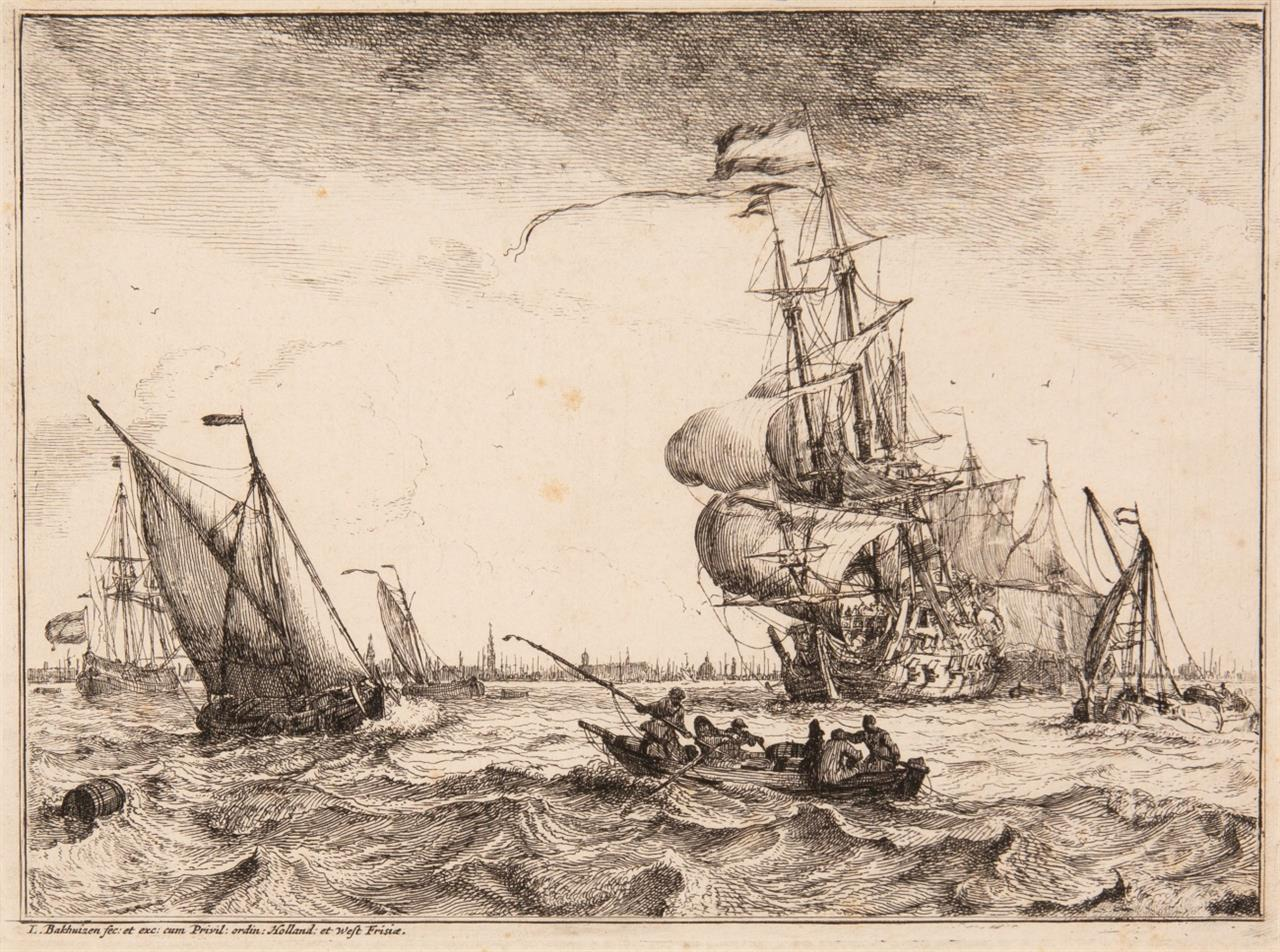 Ludolf Backhuizen. Aus: D'Y Stroom, en Zee gezichten. 1701. Radierung. H. 4 III.