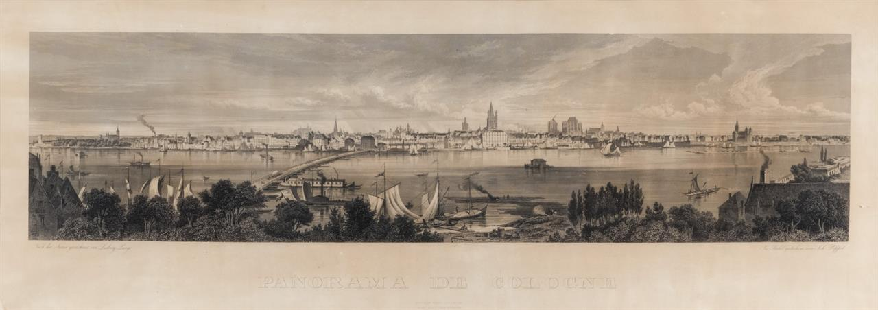 Köln. Panoramaansicht. Stahlstich nach Ludwig Lange, um 1840.