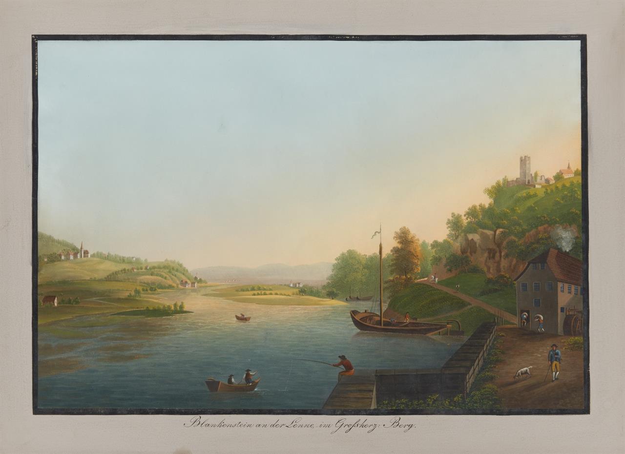Großherzogtum Berg. Malerische Ansichten aus dem Großherzogtum Berg. Kassette mit 22 Blatt Gouachen u. gouach. Radierungen von J. H. u. L. Bleuer.