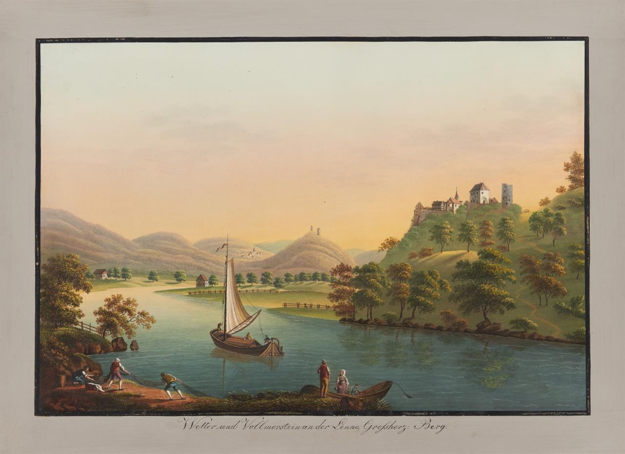 KEIN NACHVERKAUF! Großherzogtum Berg. Malerische Ansichten aus dem Großherzogtum Berg. Kassette mit 22 Blatt Gouachen u. gouach. Radierungen von J. H. u. L. Bleuer.