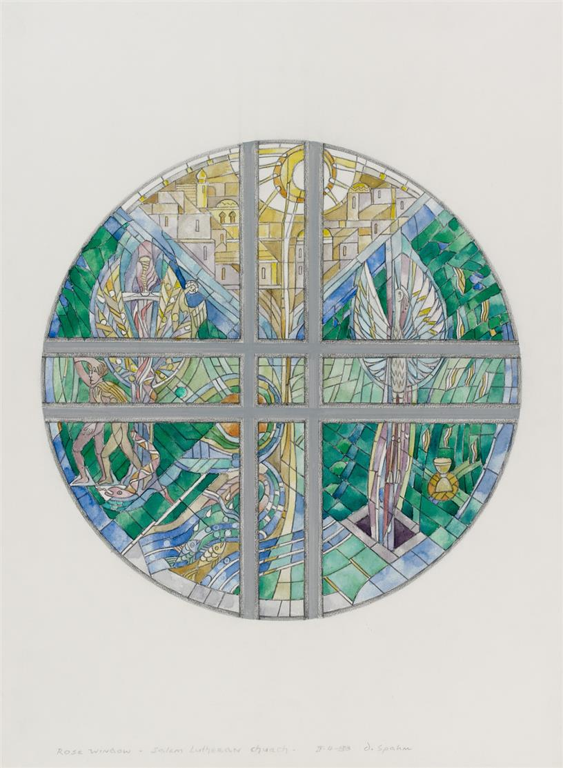 Dieterich Spahn. Rose Window (Salem Lutheran Church, St. Cloud MN). 1988. Glasfensterentwurf. Aquarell und Bleistift. Signiert.