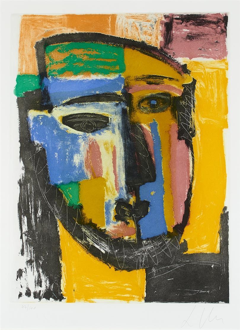 Sandro Chia. Ohne Titel (Kopf). Farbradierung. Signiert. Ex. 77/100.