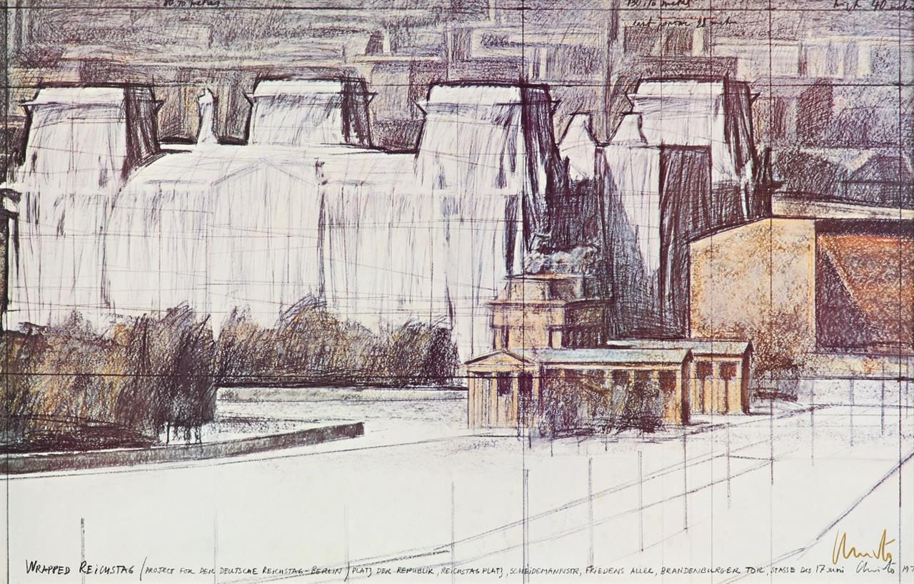 Christo. Wrapped Reichstag. 1978. Offset. Signiert.