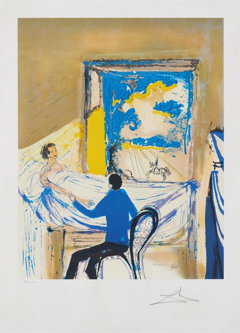 Salvador Dalí. La Lumière de la guérison. 1979/80. Farblithographie. Signiert. Ex. G 21/125. ML 1575 g.