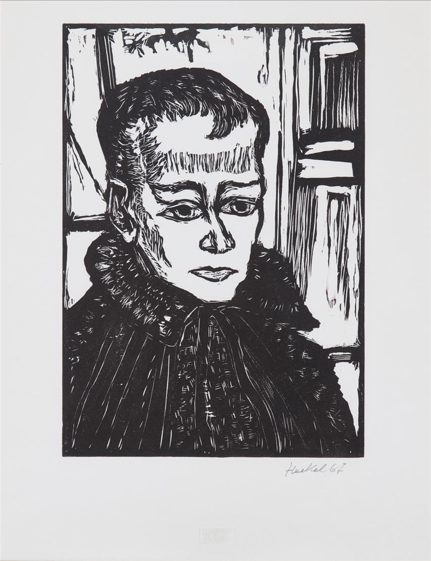 Erich Heckel. Knabenbildnis. 1967. Holzschnitt. Signiert. Dube 457.